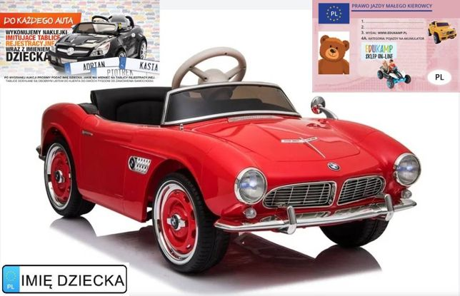 Auto na Akumulator BMW Retro Czerwone Lakierowane Ecoskóra 2.4G USB
