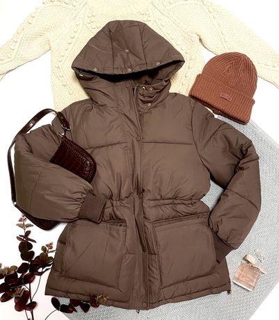 Куртка зимняя  теплая пуховик женский с поясом кулиска