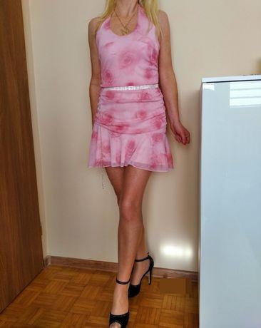 CUDOWNA sukienka damska mini różowa ozdobne wiązanie S M L GRATIS WYSY