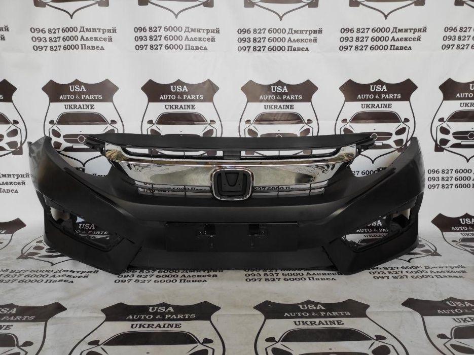 Бампер Honda Civic 2016-2019 хонда решетка сивик Бампер в сборе Вишневое - изображение 1