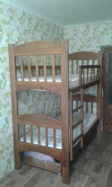 Детская деревянная Кровать кроватка двухярусная двухуровневая зона сна