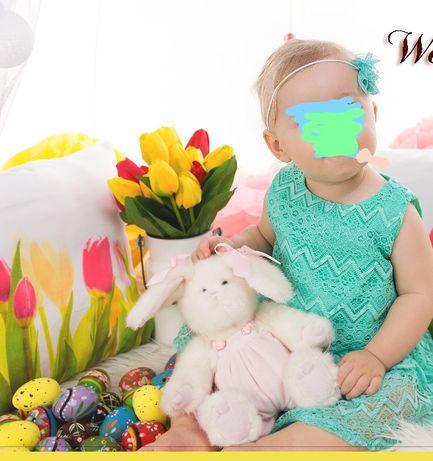 Wiosenna sukienka z koronki roz 12 miesicy