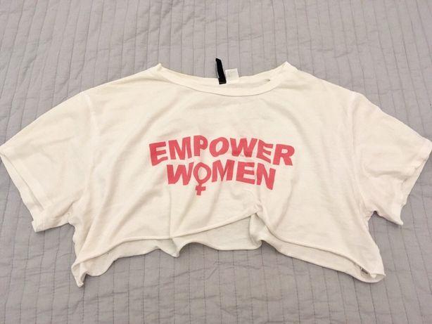 T-shirt luźna bluzka podkoszulka z napisem H&M L 40 biała krótka