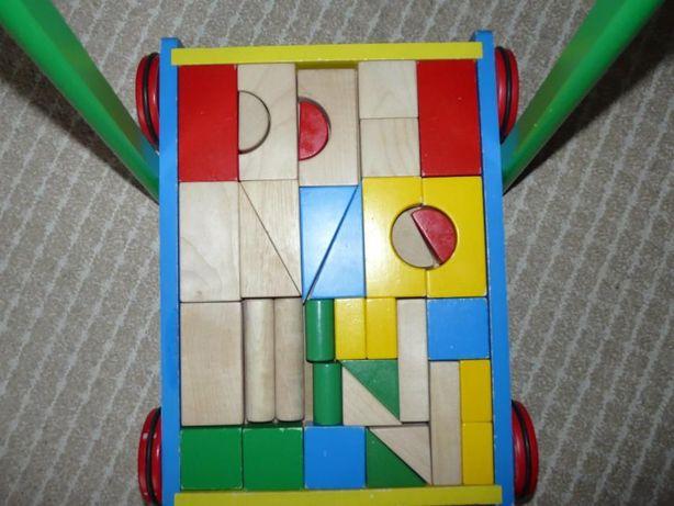 Wózek drewniany, Jeździk , pchacz, chodzik, +klocki drewniane
