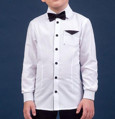 Рубашка школа белая с бабочкой и чёрными вставками 158 рост новая