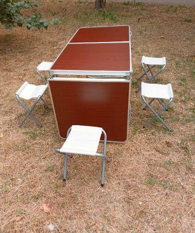складной, большой стол. / для пикника (Rainberg) + 6 стульев / МДФ