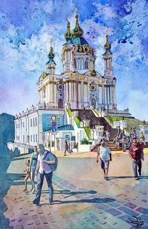 Картина Андреевская церковь, живопись, декор на стену