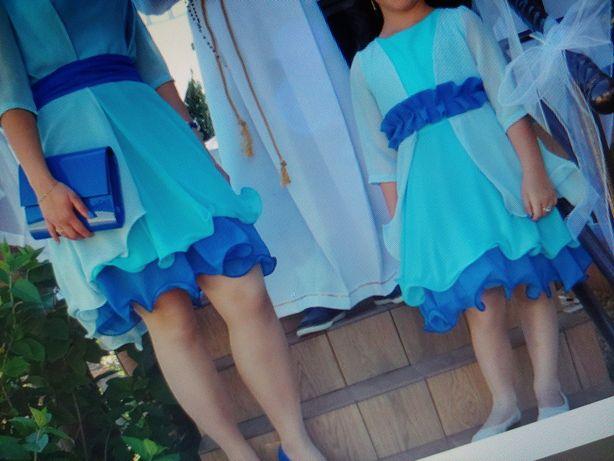 Sukienka wesele komunia 128 cm niebieska narzutka elegancka