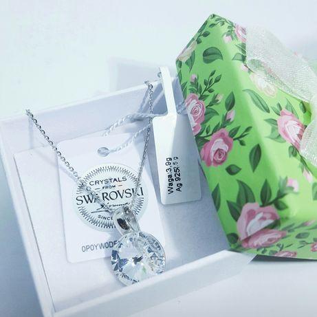Подарок девушке жене маме Swarovski серебряный кулон на День рождения