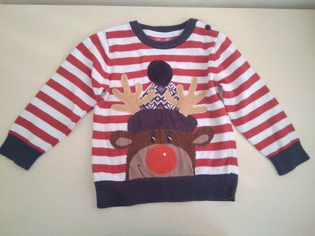 Детский свитер новогодний 1-2,5 года на мальчика или девочку