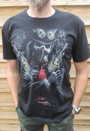 Nowa męska koszulka rewolwery czaszka 4xl