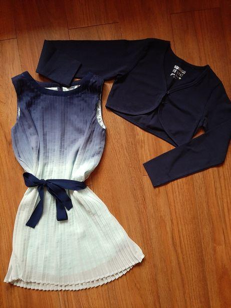 Sukienka plisowana z bolerkiem dla dziewczynki