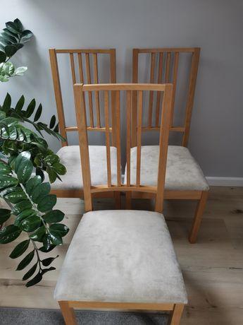 Krzesła drewniane IKEA, nowe pokrowce, 3 szt.