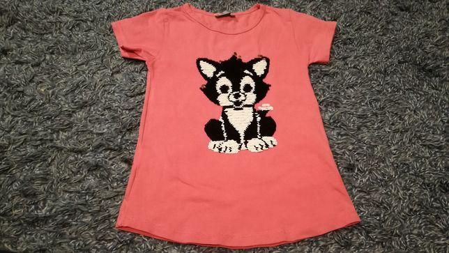 T shirt cekinowy kot 122