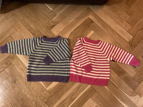 Sweter 2 szt w paski rozmiar 80