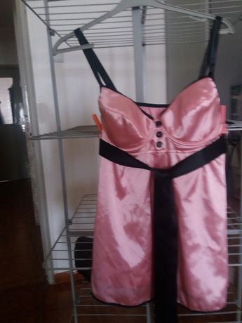 Camisa dormir cetim rosa c/tanga nova