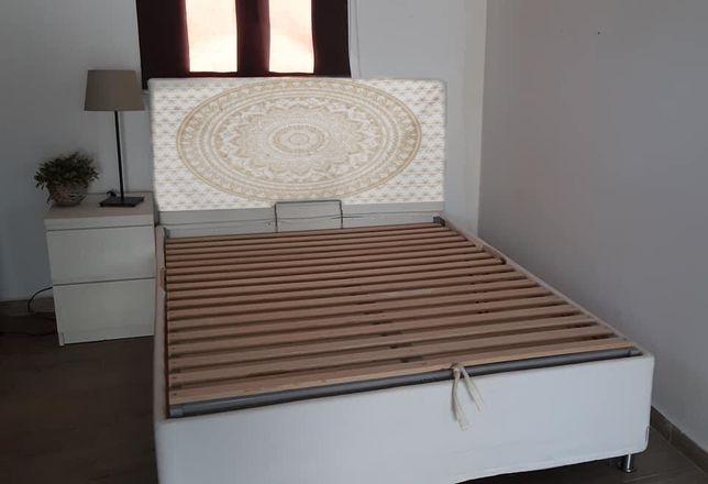 Cabeceira de cama esfofada boho