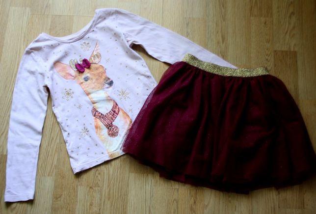 Cool club spódniczka tiulowa bluzeczka renifer na święta 122 cm 7 lat
