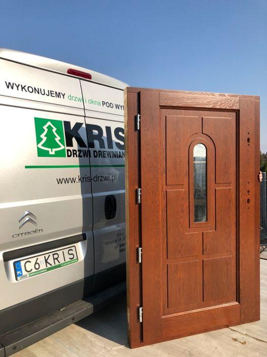 Drzwi drewniane zewnętrzne DĘBOWE ocieplane 7,5cm Grzybno - image 1