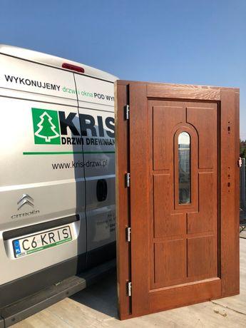 Drzwi drewniane zewnętrzne DĘBOWE ocieplane 7,5cm