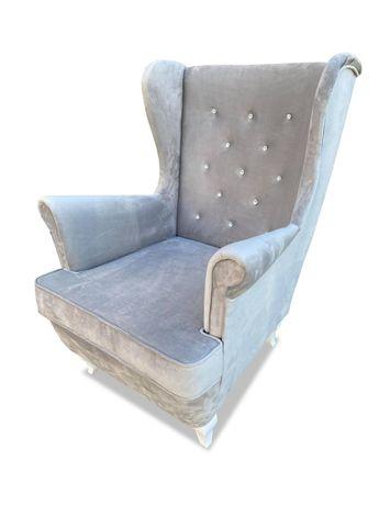 Fotel Uszak fotel do karmienia szary srebrny kryształki