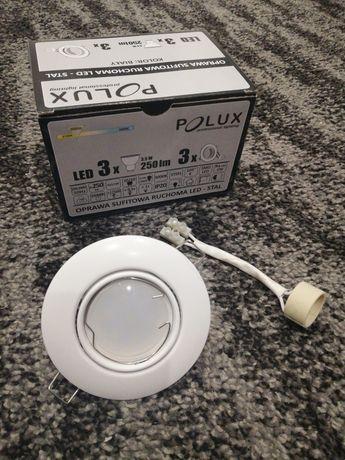 Oprawa sufitowa ruchoma z żarówką LED Polux biała GU10 Nowa 1 sztuka