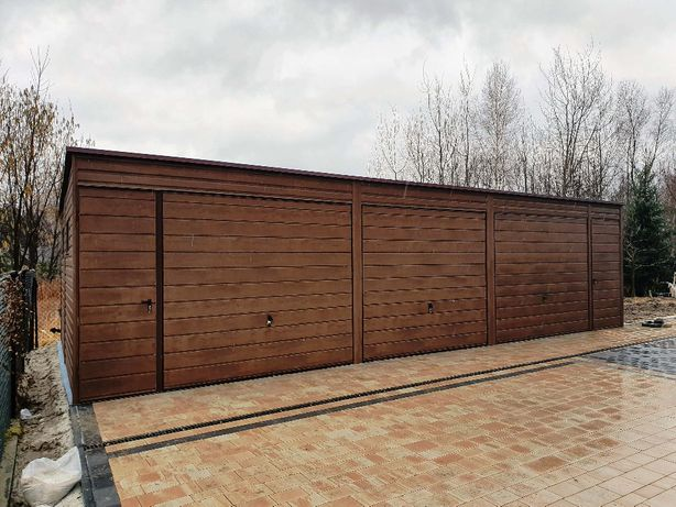 Garaż blaszany drewnopodobny 6x6, 5x6, 5x7, 5x5 OCYNKOWANA KONSTRUKCJA