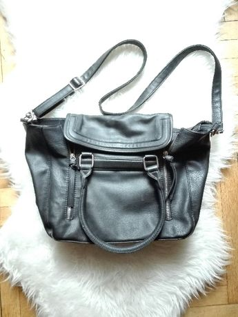 Czarna torba Diverse A4 długi pasek ozdobne zamki czarny shopper bag