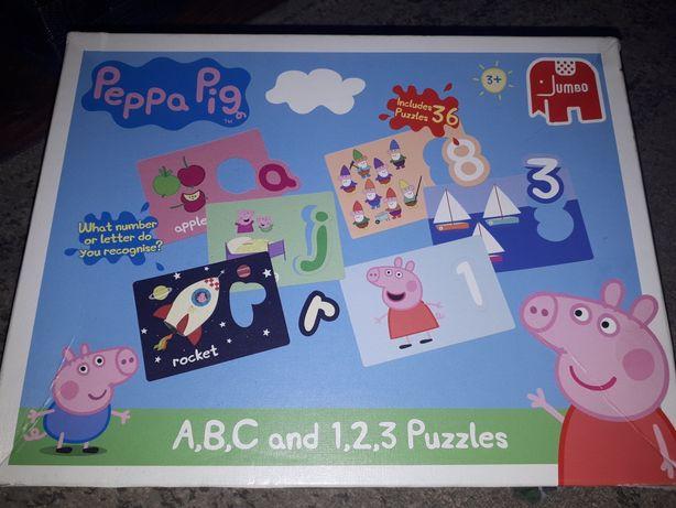 Świnka Peppa puzzle jak nowe alfabet angielski cyferki 3+