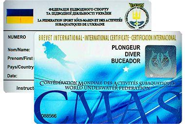 Обучение дайвингу, сертификат международного образца