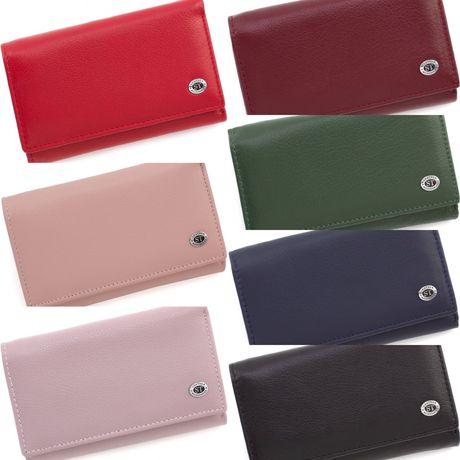 Женский кошелек из фактурной кожи красного цвета с наружной монетницей