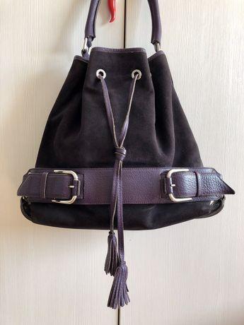 Фиолетовая замшевая кожаная сумка Dolce&Gabbana. Оригинал!