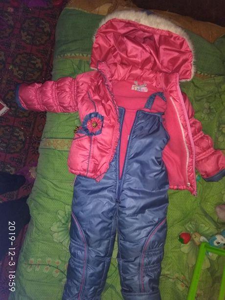 Комбінезон, комбез для дівчинки,теплий зручний+ жилетка -овчині,зима