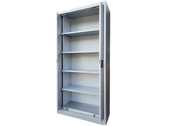 Szafa metalowa warsztatowa aktowa 196x95x40 cm 80 kg, chowane drzwi