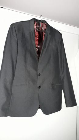 Nowoczesny Elegancki garnitur męski lekki połysk jak nowy 182-188 cm