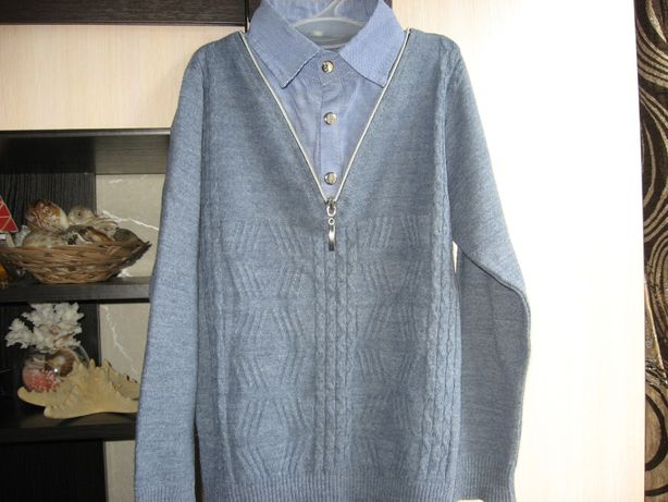 Обманка - рубашка свитер теплая-50%шерсть, кофта джемпер 2 кл 122-128