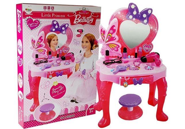 NOWY Zestaw Piękności Toaletka dla dziewczynki LUSTRO dzwięk SWIATŁO