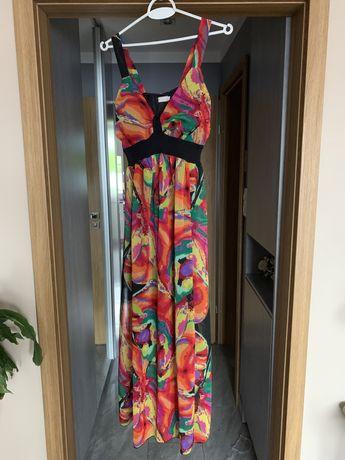 Dluga kolorowa sukienka Jacqueline Riu rozm. 40