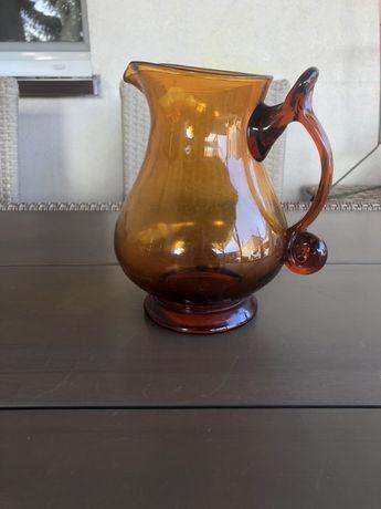 Szklany dzbanek prl / herbaciany / wysokosc 19.5 cm