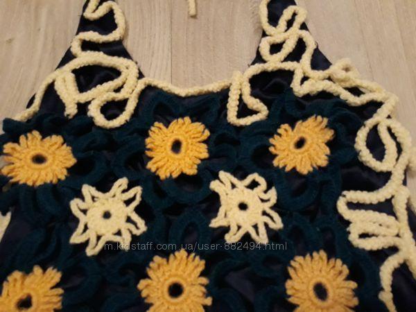 Платье вечернее с открытой спиной, ручной работы.