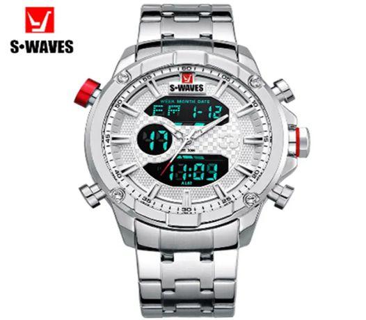 Zegarek Męski S-WAVES Wodoodporny Wojskowy Alarm Data Stoper Podświetl