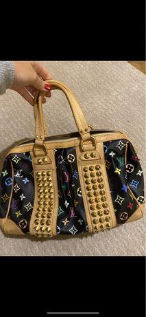 Mala 100% autêntica Louis Vuitton Courtney MM Black Multicolor