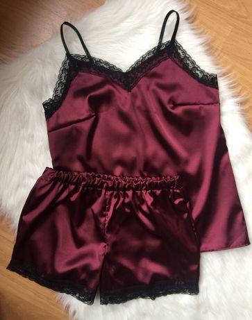 Piżama satynowa damska z koronką 36 S burgund bordowa komplet sexy