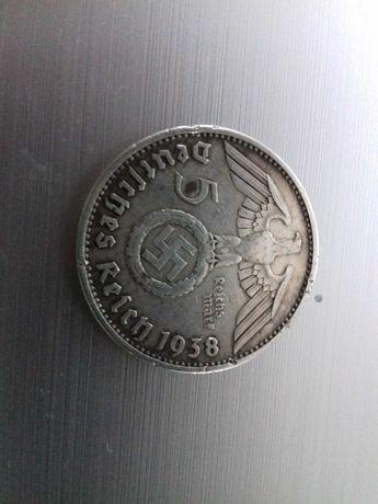 III Rzesza 5 Marek 1938 E HINDENBURG Srebro UNC