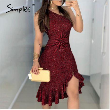 Simplee, сексуальное платье на одно плечо для вечеринки с блестками, S