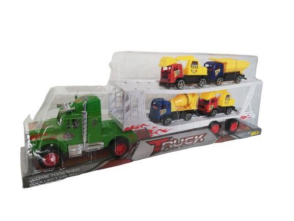 Auto piętrowa laweta + 4 autka ciężarówki.