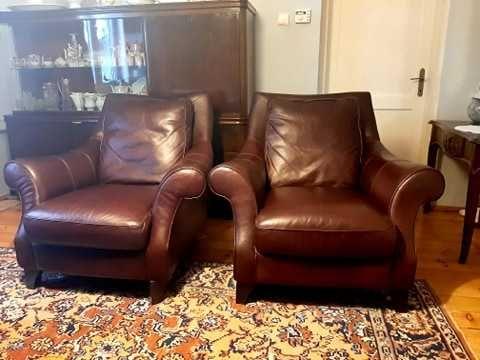 Skórzane, eleganckie, włoskie fotele