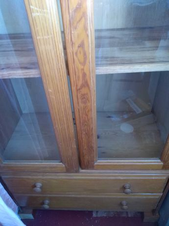 Armário multiusos com portas de vidro, 4 prateleiras e duas gavetas