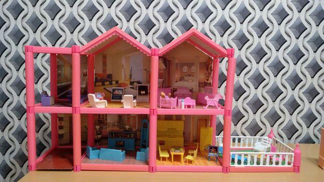 Różowy domek z mebelkami  dla laleczek +wysyłka gratis!