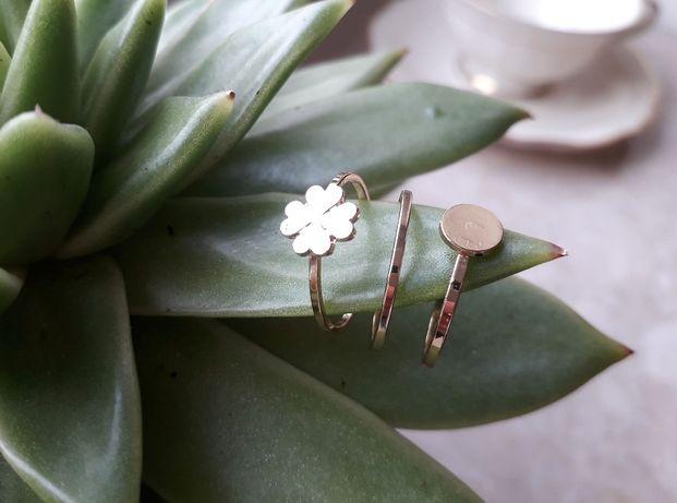 Komplet trzech pierścionków, kolor złoty, 16,5 mm, NOWE !